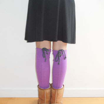 T Shirt Leg Warmers / Orchid Purple / Pastel / For Her / Boot Liners / Recycled / Winter / Handmade / Cotton / Soft / Fashion / ohzie