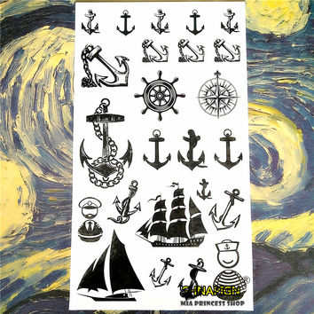 Marine Pirate Anchor Temporary Tattoo Body Art Arm Flash Tattoo Stickers 17*10cm Waterproof Fake Henna Painless Tattoo Sticker