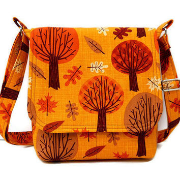 Small Messenger Bag Small Purse - Trees in Pumpkin Orange and Brown on Mustard Yellow Cotton