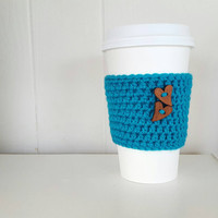 Heart Coffee Cozy, Rustic Heart Button, Crochet Coffee Cozy, Knit Coffee Cozy , Heart Cozy, Coffee, Gifts For Her, Bridesmaid's Gift, Coffee
