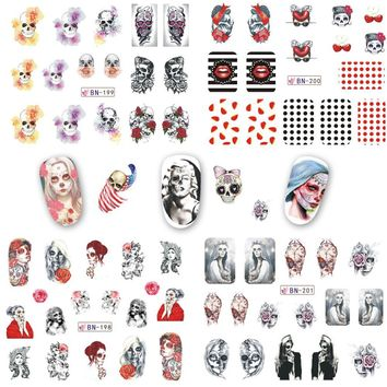 12 Designs Mixed Halloween DIY Water Transfer Nails Art Sticker Manicure DIY Wraps Foil Decals for Halloween Gift CHBN193-204
