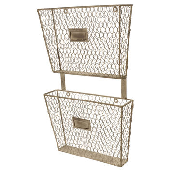 Metal 2-Tier File Holder, Wall Storage & Organization