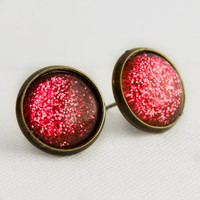 Candy Apple Post Earrings in Antique Bronze - Pinkish Red Glitter Studs