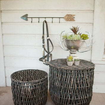 Set of 2 Water Hyacinth Twist Baskets - Black Wash