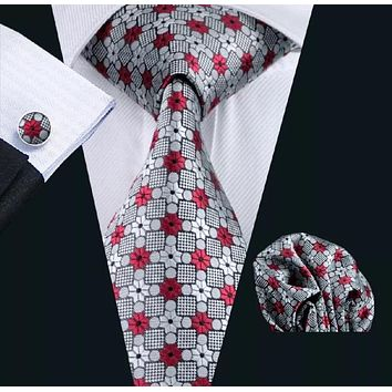 Men's Silk Coordinated Tie Set - Red & Silver