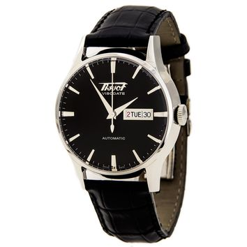 Tissot T0194301605101 Men's Heritage Visodate Black Dial Black Leather Strap Automatic Watch
