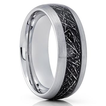 Meteorite Tungsten Wedding Band - Silver Tungsten Ring - Meteorite Ring