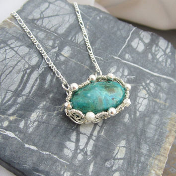 Sterling Silver Wire Wrapped Necklace with Malachite by studiodct