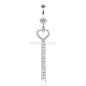 Luxuriant Heart Belly Button Ring (Clear)
