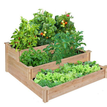 Greenes Three-Tiered Raised Garden Bed 4 ft. x 4 ft. Insect Resistant Cedar