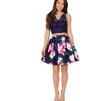 Sylvia Navy Lace Crop Top With Floral Skirt