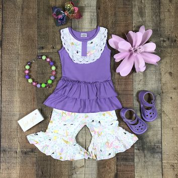 BLOW OUT! RTS Outfits For Girls Lavender Unicorn Two Piece Bib Ruffle Top Capri Outfit D6