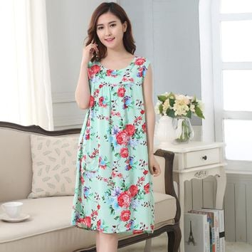 New Arrival Chinese Women 100% Cotton Nightdress Summer Sleeveless Sleepwear Floral Home Dress Robe Gown Plus Size L,XL,XXL,3XL