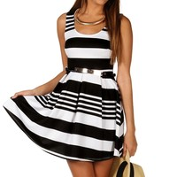 Sale-black/white Stripe Belted Skater Dress