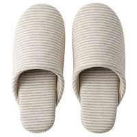Organic Cotton Jersey Cushion Slippers Beige Border L