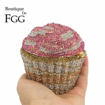 Women Mini Fashion Crystal Cupcake Handbag Purse Rhinestone Wedding Party Evening Clutch Bag Bridal Chain Minaudiere Clutches