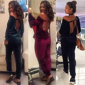 Yissang 2017 Sexy Long Sleeves Backless Women Romper Summer Fashion Solid Blue Green Winered Velvet Bodycon Jumpsuits