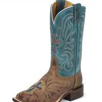 Tony Lama Women's Tan Vintage Cow with Painted Cross Boot