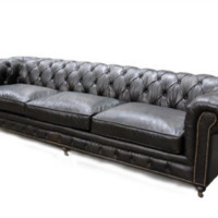 Chesterfield XL Leather Sofa | Mountain Black