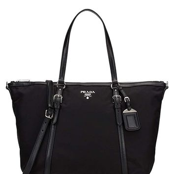 Prada Tessuto Saffian Black Nylon and Leather Shopping Tote Bag 1BG253