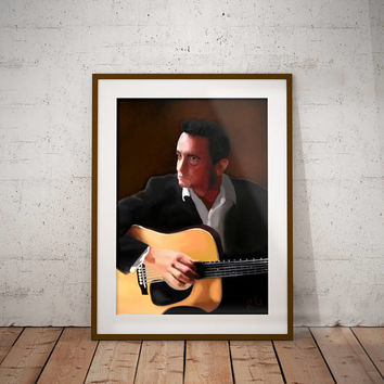 Johnny Cash Outlaw Country Music Man In Black  American Singer Songwriter Guitarist Actor Wall Art Print