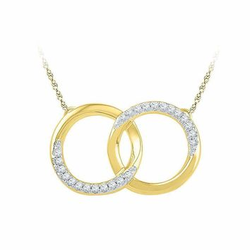 10kt Yellow Gold Women's Round Diamond Interlocking Double Circle Pendant Necklace 1-10 Cttw - FREE Shipping (US/CAN)