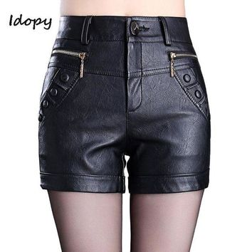 VONE05WA Idopy Fashion Womens PU Leather Sexy Shorts Side Zippers Skinny Fit Night Club Short Pants Black Red Shorts For Women
