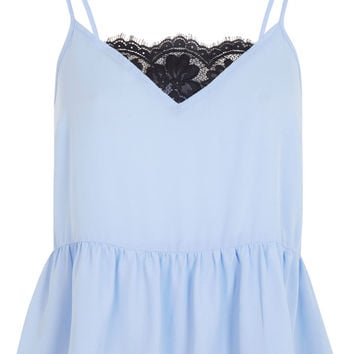 Blue Peplum Cami - Tops - Clothing