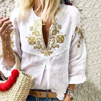 Women Lantern Sleeve Casual Floral Print Shirt Tops Deep V Ethnic Loose Blouse