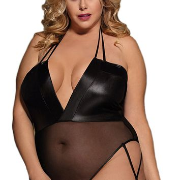Atomic Black Faux Leather Stitching Teddy Lingerie