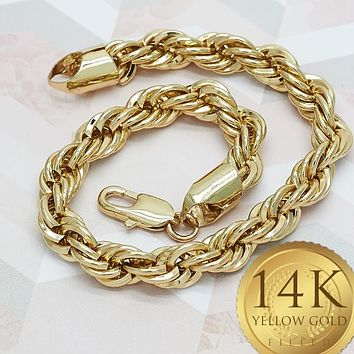 Gold Tone Men Rope Basic Bracelet, by Folks Jewelry
