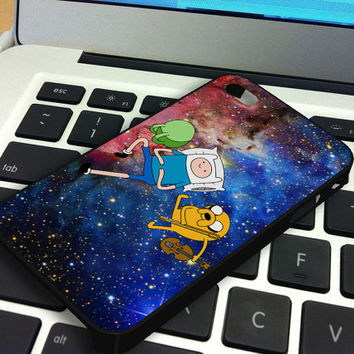 Galaxy Nebula Finn and Jake 1 iPhone 5 iPhone 4 / 4S Plastic Hard Case Soft Rubber Case