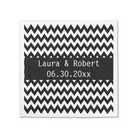 Black and White Chevron Wedding Napkin