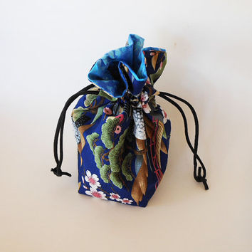 Drawstring Makeup Bag - Navy Pagoda & Cherry Blossoms - Japanese Fabric - Asian Fabric - Makeup Pouch - Cosmetic Bag - Adorable Little Bag