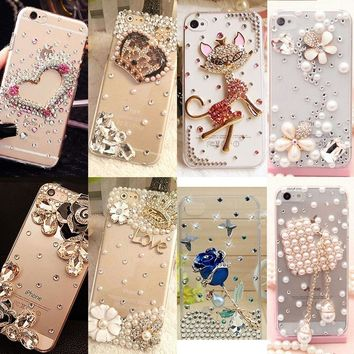 Rhinestone Cover For Samsung S6 S7 edge S8 Plus Note5 Luxury Bling Big Crown Shell Hard Phone Case For iPhone 5 6 6S 7 Plus