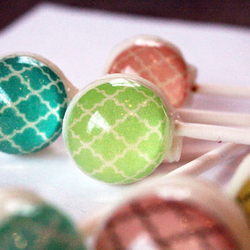Pretty patterns series - Moroccan pattern - ball style edible images hard candy lollipop - 6 pc. - MADE TO ORDER
