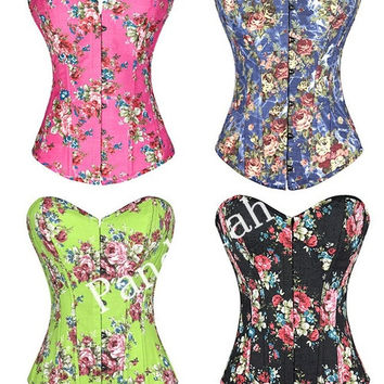 Pandolah Hot Selling Overbust Corsets Boned Bustiers Floral Print Women Sexy Lingerie 4 Colors S--XXL = 1929975876