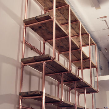 Large 5 shelf stepped design, 28mm copper pipe and reclaimed wood shelving unit (wall mounted)