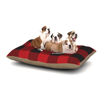 "KESS Original ""Red Plaid Monogram"" Dog Bed"