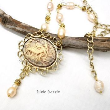 Hand tinted mermaid cameo in vintage (1980's) setting.with freshwater pearls, Adjustable necklace. Handmade cameo necklace, peach pearls.
