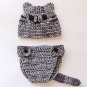 Pusheen Cat Hat / Beanie with Diaper Cover - Premie, Newborn, Child, Teen, Adult - Halloween / Cosplay Wig/ Baby Shower Gift