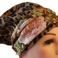 Scrub Hat Cap Chemo Bad Hair Day Hat NEW European BOHO Banded Pixie Tie Back Animal Print with Floral Band 2nd Item ships FREE