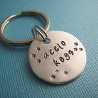 Harry Potter Accio Keys Hand Stamped Keychain by CandidGrace