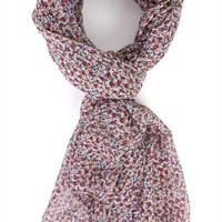 Woven Scarf with Small Multicolor Floral Print