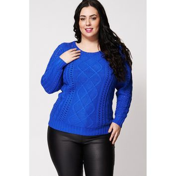 Blue Cable Knit Jumper With Cut Out Design