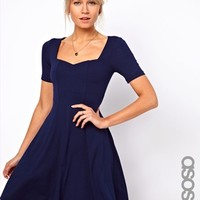 ASOS TALL Skater Dress With Short Sleeve and Sweetheart Neck - Navy