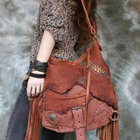 Distressed rusted brown leather studded fringed hobo bag fringe artistan purse bohemian african jungle distressed raw festival free people