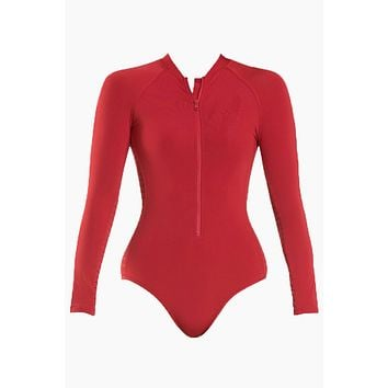 Surf Zipper Front Long Sleeve Rashguard Bodysuit - Chili Red