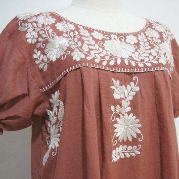 Mexican Embroidered Dress Cotton Puff Sleeves by chokethai on Etsy