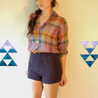 high waisted cable knit purple sweater shorts by myHOMEBYTHESEA